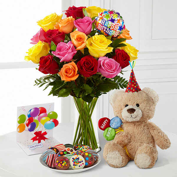 Image result for photos o fwomen roses and gifts birthday""