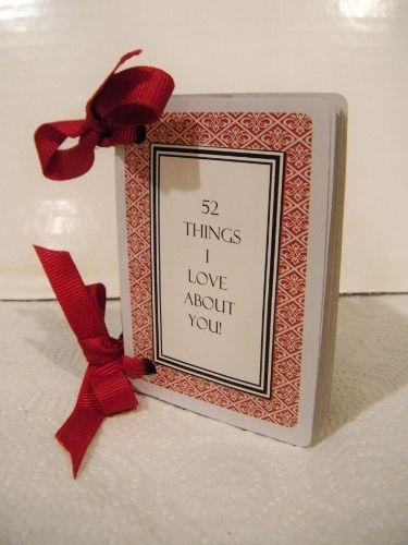 A DIY gift cards with 52 Things I Love About You